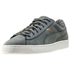 Puma Basket Classic Citi Womens Grey Leather Casual Trainers Lace-up New Style