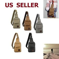 Men's Military Vintage Canvas Leather Satchel Shoulder Bag Messenger Travel Bag
