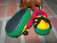 Baby booties. Rasta. Hand crocheted by myself. Black leather soles. 4 sizes.