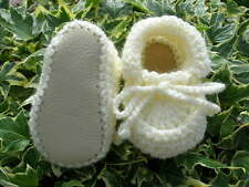 Baby shoes. Cream. Hand crocheted by myself. Real leather soles. 4 sizes.