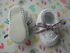 Christening baby shoes+ Headband. Hand made White.Tartan. Leather soles. Cotton.