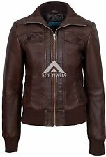 Ladies Leather Jacket Brown BOMBER Fashion Trendy Deluxe 100% REAL NAPA 232