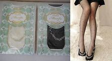 Womens soft lace thigh Silk stockings tights black or ivory with dots one size