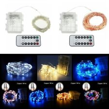 IR Remote Battery Copper/Silver Wire 5/10M LED String Fairy Light Outdoor Lamp