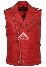 Mens Leather Jacket Red BRANDO Red Biker Style Steam Punk NAPA WAISTCOAT 1025