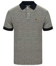 MENS WIGAN CASINO / NORTHERN SOUL TEXTURED DOBBY POLO SHIRT  WC 2067 - NAVY BLUE
