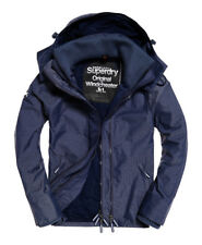 Neue Herren Superdry Pop Zip Hooded Windcheater-Jacke Navy Harringbone