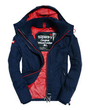 Neue Herren Superdry Pop Zip Hooded Windcheater-Jacke Nautical Navy