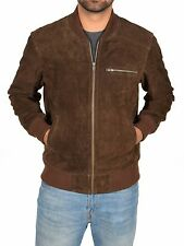 Mens Real BROWN Suede Bomber Jacket Leather Sports Varsity Baseball Casual Coat