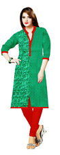 Trendy Green Large Cotton Satin Floral Printed Straight 3/4th Sleeve Kurti