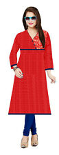 Classy Red Large Cotton Satin Floral Printed Straight 3/4th Sleeve Kurti