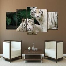 White Tigers 5 panel  printed wall art on canvas