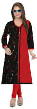 Formal Red and Black XL Cotton Printed Straight Full Sleeves Kurti