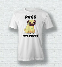 PUGS NOT DRUGS Divertido Bonito Perro Camiseta Top para hombre mujer infantil