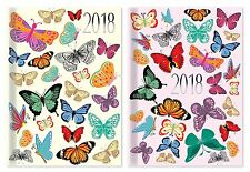2018 Pocket Size Diary Week To View WVT Glitter Butterflies Hardback Pink/Blue