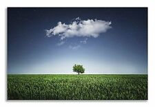 Landscape Lonely Tree Green Field Canvas Wall Art Picture Home Decor