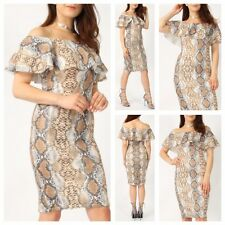 WOMENS LADIES OFF SHOULDER FRILL DETAIL BRADOT BODYCON SNAKE PRINT MIDI DRESS