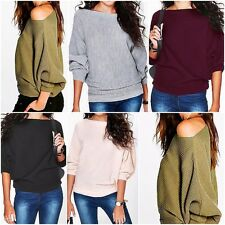 Womens Ladies Oversized Loose Long Sleeve Shirt Blouse Baggy Tops Batwing Jumper