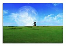 Landscape Abstract Field Windmill Moon Canvas Wall Art Picture Home Decor Print