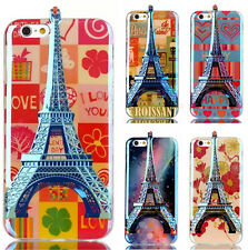 Silicone TPU Eiffel Tower Printed back case cover for Apple iPhone 5 5S SE