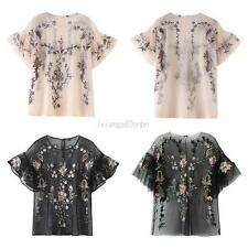 Fashion Women Embroidery Mesh Tops Short Sleeve Blouse Summer Casual T Shirt Hot