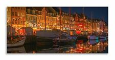 Nyhavn Harbour Yachts Night lights Denmark Panorama Canvas Wall Art Home Decor
