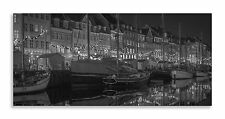 Nyhavn Harbour Yachts Black White  Denmark Panorama Canvas Wall Art Home Decor