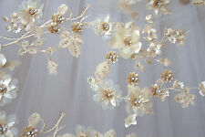 """Stunning Wedding Corded Embroidery Lace 51"""" Beaded Floral Bridal Lace Fabric 1 Y"""