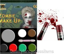 ZOMBIE Make Up Kit with FAKE BLOOD 7 Colours Paint Set Halloween Fancy Dress