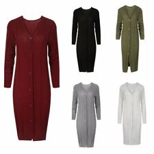 WOMENS LADIES CASUAL BASIC CABLE KNIT BUTTONED WINTER LONGLINE KNITTED CARDIGAN