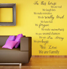 In this House Quote, Family Rules, Vinyl Wall Art Sticker, Mural, Decal.