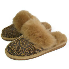 New Ladies Premium 100% Pure Twinface Sheepskin Floral Mules Slippers EVA Sole