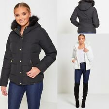 WOMENS PUFFER JACKET BRAVE SOUL FUR HOODED QUILTED WARM WINTER LADIES PARKA COAT