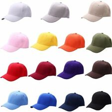 Plain Baseball Cap Unisex Curved Visor Hat Hip-Hop Adjustable Solid Color