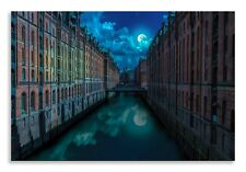 Abstract City Canvas Canal Moon Landscape Wall Art Picture Home Decor