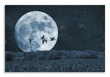 Wheat Field Canvas Abstract Moon Birds Landscape Wall Art Picture Home Decor