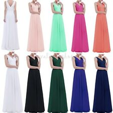Deep V Neck Women Long Wedding Dress Evening Prom Bridesmaid Formal Party Gown
