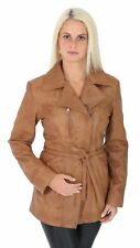 Womens Slim Fit TAN Leather Jacket With Belt X-Zip Hip Length Biker Style Jacket