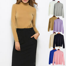 Womens Warm Long Sleeve Sweater Blouse Ladies Plain Knit Jumper Pullover Tops