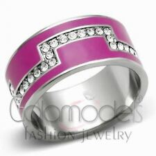 A700 SPARKLING CLEAR SIMULATED DIAMOND 316L STAINLESS STEEL HIGH POLISHED RING