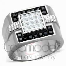 A2516 SIMULATED BLACK DIAMOND 316L STAINLESS STEEL HIGH POLISHED RING