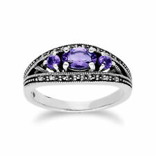 Gemondo Sterling Silver Triple Amethyst & Marcasite February Ring