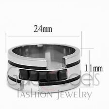A2528 SIMULATED BLACK DIAMOND 316L STAINLESS STEEL HIGH POLISHED RING