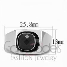 A2527 SIMULATED BLACK DIAMOND 316L STAINLESS STEEL HIGH POLISHED RING