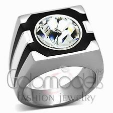A764 SPARKLING CLEAR SIMULATED DIAMOND 316L STAINLESS STEEL HIGH POLISHED RING