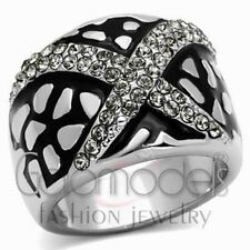 A2502 SIMULATED BLACK DIAMOND 316L STAINLESS STEEL HIGH POLISHED RING
