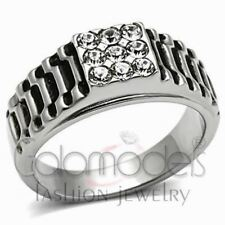 A793 SPARKLING CLEAR SIMULATED DIAMOND 316L STAINLESS STEEL HIGH POLISHED RING