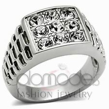 A789 SPARKLING CLEAR SIMULATED DIAMOND 316L STAINLESS STEEL HIGH POLISHED RING
