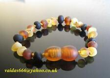 GENUINE  BALTIC AMBER BRACELET/ANKLET - UNPOLISHED COLOURS MIXED SIZES 14-17 CM
