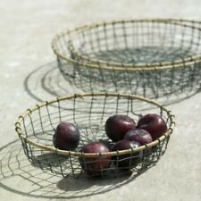 Wire Metal Storage Basket Fruit Bowl Tray Kitchen Rustic Country Style NKUKU